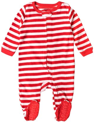 Leveret Red and White Stripes Footed Fleece Sleeper