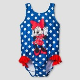 Disney Toddler Girls' Minnie Mouse One Piece Swimsuit - Navy Dot