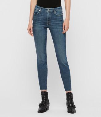 AllSaints Grace Mid-Rise Skinny Jeans, Vintage Indigo Blue