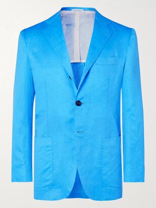 Kiton Turquoise Slim-fit Unstructured Cotton And Linen-blend Blazer - Blue