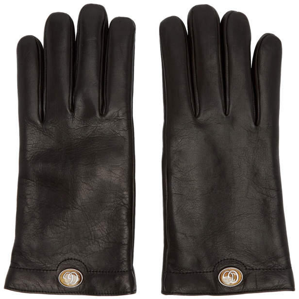 Gucci Black Leather Logo Gloves