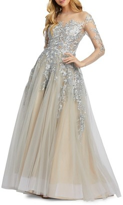 Mac Duggal Metallic Ruffled Illusion Gown