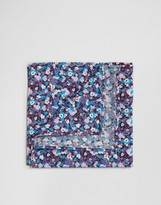 Asos Floral Pocket Square In Blue