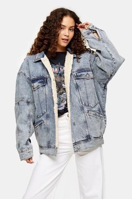 Topshop Womens Acid Wash Denim Oversized Borg Lined Jacket - Mid Stone