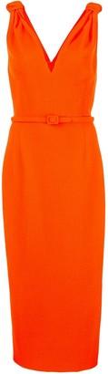 Oscar de la Renta belted fitted dress