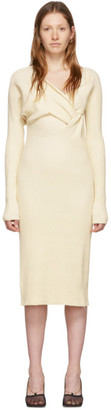 Bottega Veneta Off-White Draped Knit Dress