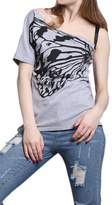 Zilcremo Women's Casual Butterfly Print One Shoulder Loose Slim T-Shirt Top XL