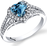 Ice 1 8/9 CT TW London Blue Topaz and Diamond 14K White Gold Heart Shaped Halo Ring