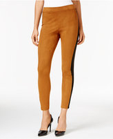 NY Collection Ponte-Inset Faux-Suede Leggings