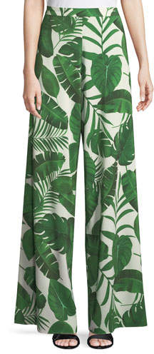 Alice + Olivia Athena Super Flared Palm-Leaf Print Pants