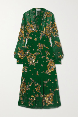 Saint Laurent Tie-detailed Embellished Silk-mousseline Midi Dress - Green