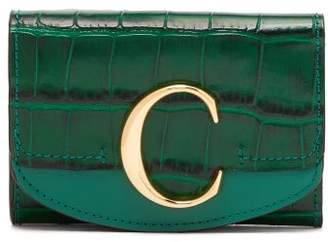 Chloé The C Logo Crocodile-embossed Leather Wallet - Womens - Green