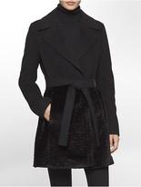 Calvin Klein Wool Faux Fur Coat