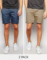 Asos 2 Pack Slim Chino Shorts In Stone And Blue