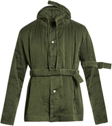 Craig Green Belted sandwashed-silk hooded jacket