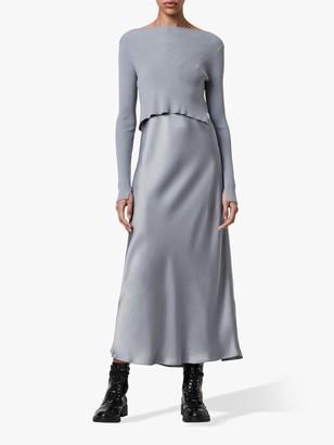 AllSaints Hera Jumper Slip Maxi Dress, Steel Grey