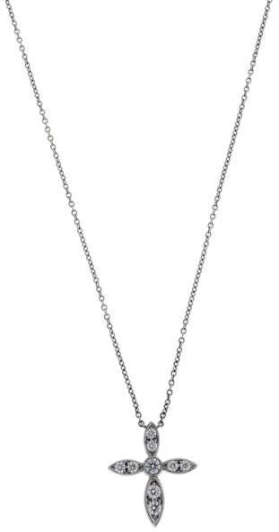Tiffany & Co. Platinum 0.16ct. Diamond Cross Necklace