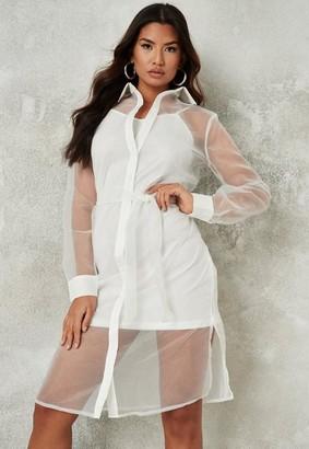 Missguided White Organza Tie Shirt Midi Dress