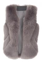 Quiz Grey Faux Fur Chevron Gilet
