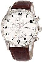 HUGO BOSS Silver Dial Brown Leather SS Chrono Quartz Mens Watch 1512447