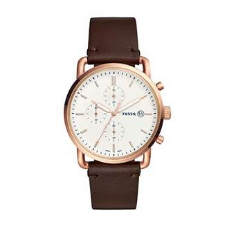Fossil Men's The Commuter Chrono Stainless Steel Quartz Leather Strap