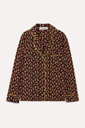 Diane von Furstenberg Halsey Printed Silk Crepe De Chine Shirt - Black