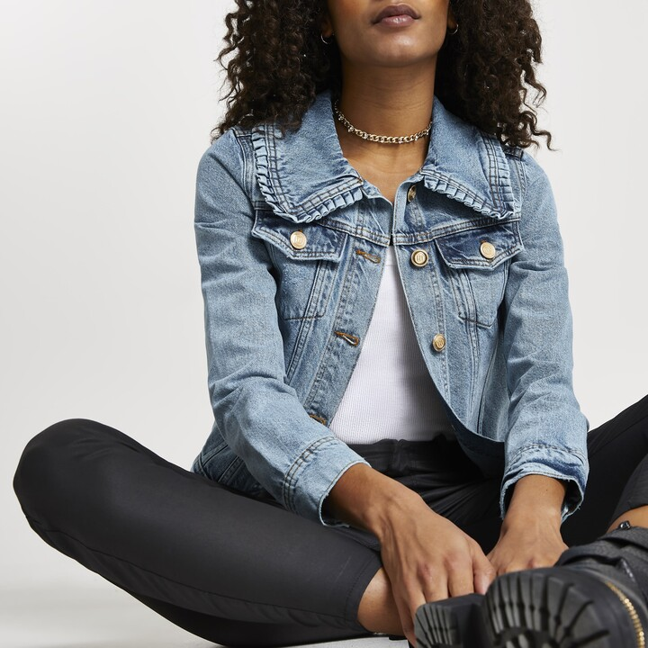 Thumbnail for your product : River Island Womens Blue denim collared fitted Jacket