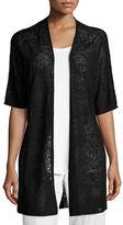 Eileen Fisher Half-Sleeve Sheer Long Cardigan