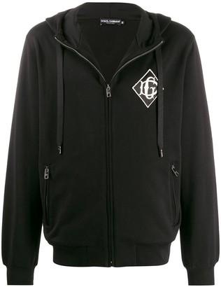 Dolce & Gabbana embroidered logo zip-up hoodie