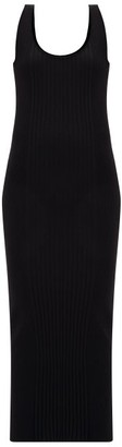 Paco Rabanne Buttoned-back Cotton-blend Ribbed Knit Dress - Womens - Black