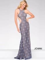 Jovani Lace Embellished Halter Neck Sheath Dress 49922
