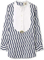 Figue Embellished Striped Cotton-gauze Top