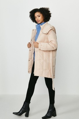 Coast Quilted Longline Coat With Hood