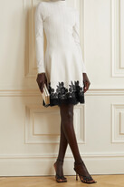 Thumbnail for your product : Lela Rose Crocheted Lace-trimmed Ribbed Stretch-knit Dress - Ivory