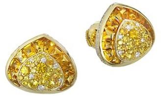MARINA B 18K Yellow Gold, Diamond, Citrine Yellow Sapphire Stud Earrings