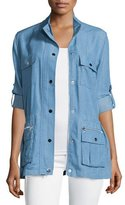 Neiman Marcus Snap-Front Chambray Safari Jacket, Denim