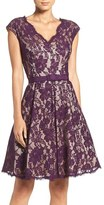 Eliza J Women's Pleat Lace Fit & Flare Dress