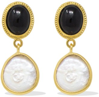 Vintouch Italy Gold-Plated Onyx & Pearl Earrings