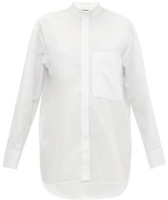 Jil Sander Band-collar Cotton-poplin Shirt - White