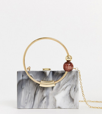 Asos DESIGN marble box bag with bead ring handle