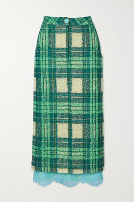 ROWEN ROSE Lace-trimmed Checked Wool-boucle Midi Skirt - Green