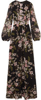 Giambattista Valli Appliquéd Floral-print Silk-georgette Gown - Black