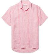 Orlebar Brown Patrick Camp-collar Striped Linen Shirt - Pink