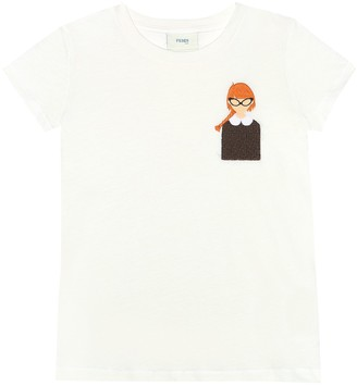 Fendi Kids Embroidered cotton T-shirt