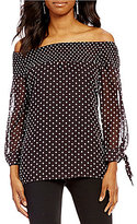 I.N. Studio Off-The-Shoulder Long Sleeve Clip Dot Print Top