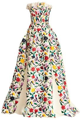 Carolina Herrera Floral-Print Pleated Silk Ball Gown