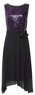 Dorothy Perkins Womens Billie & Blossom Tall Purple Sequin Fit And Flare Dress, Purple