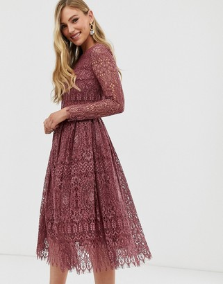 Asos Design DESIGN lace long sleeve midi prom dress-Purple