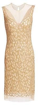 Joanna Mastroianni Women's Beaded Illusion-Neck Cocktail Dress