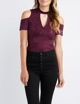 Charlotte Russe Faux Suede Mock Neck Cold Shoulder Bodysuit
